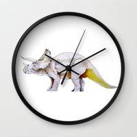 dino Wall Clocks featuring Dino by Rocío Gómez