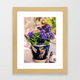 African violets & Kokopelli Framed Art Print