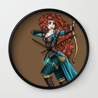 merida Wall Clocks featuring Steampunk Merida by Hungry Designs