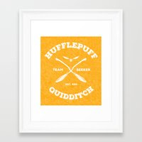 quidditch Framed Art Prints featuring Hufflepuff Quidditch by Sharayah Mitchell