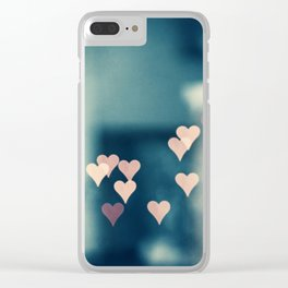 Heart Love Photography, Teal Pink Hearts Photograph, Turquoise Aqua Blue Clear iPhone Case