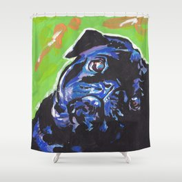 Black Pug Dog Portrait bright colorful Pop Art Painting by LEA Shower Curtain