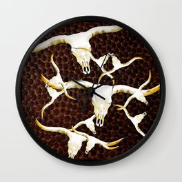 Texas Longhorn Art by Sharon Cummings Wall Clock