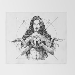 Lady with Skull. Yury Fadeev. Throw Blanket