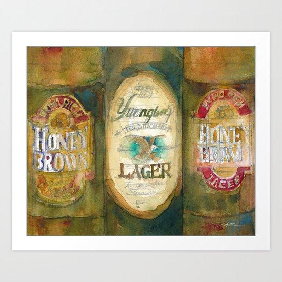 Beer, Honey Brown Beer and Yuengling Art Print