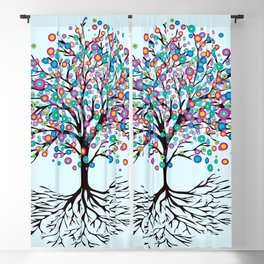 Tree of life rainbow flowers Blackout Curtain