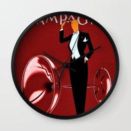 Vintage Champagne Red Veuve A. Devaux, Paris, France Jazz Age Roaring Twenties Advertisement Poster Wall Clock
