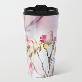 Pink Dogwood Flower Photography, Pastel Lavender Floral, Spring Nature Art Travel Mug