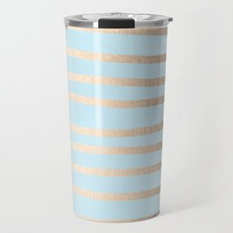 Abstract Drawn Stripes Gold Tropical Ocean Sea Turquoise Travel Mug