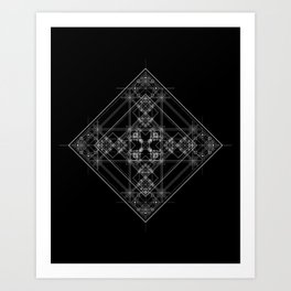 Black sacred geometry design with occult and wicca style Art Print