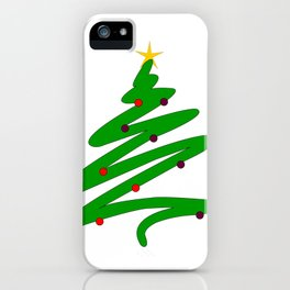 Minimalist Green Christmas Tree Doodle with Ornaments and Star iPhone Case