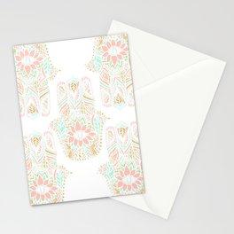 Modern girly pink mint gold Hamsa hand of fatima Stationery Cards