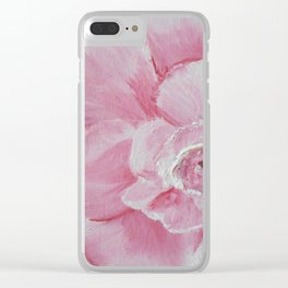 Pink Camelia Macro Clear iPhone Case