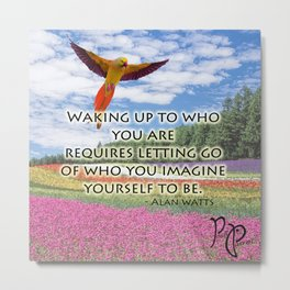 "Posh Parrot ""Waking up"" Parrot Metal Print"