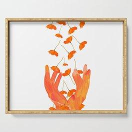 Wonderful Poppy Flowers Orange Coral Color White Background #decor #sociey6 #buyart Serving Tray