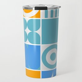 Mid-century geometric abstract pattern with simple shapes and beautiful color palette Travel Mug