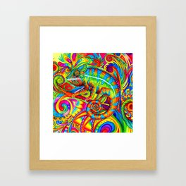 Psychedelizard Colorful Psychedelic Chameleon Rainbow Lizard Framed Art Print