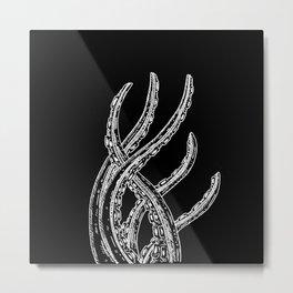 Woodcut Style Cthulhu Octopus Tentacles Metal Print