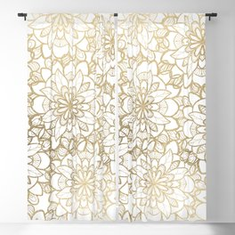 Elegant Hand Drawn Faux Gold White Floral Illustration Blackout Curtain