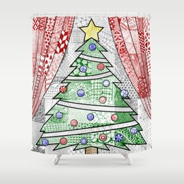 Coloured Christmas Tree Shower Curtain