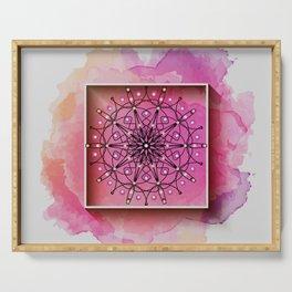 framed mandala art in pink Serving Tray