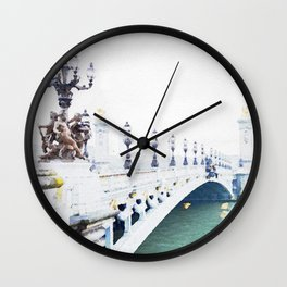 Pont Alexandre III Paris Bridge Watercolor Wall Clock