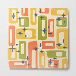 Retro Mid Century Modern Abstract Pattern 277 Yellow Orange Green Metal Print