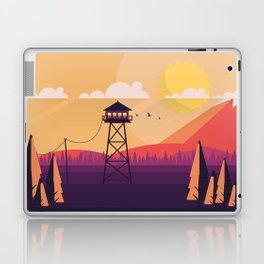 VECTOR ART LANDSCAPE WITH FIRE LOOKOUT TOWER Laptop & iPad Skin
