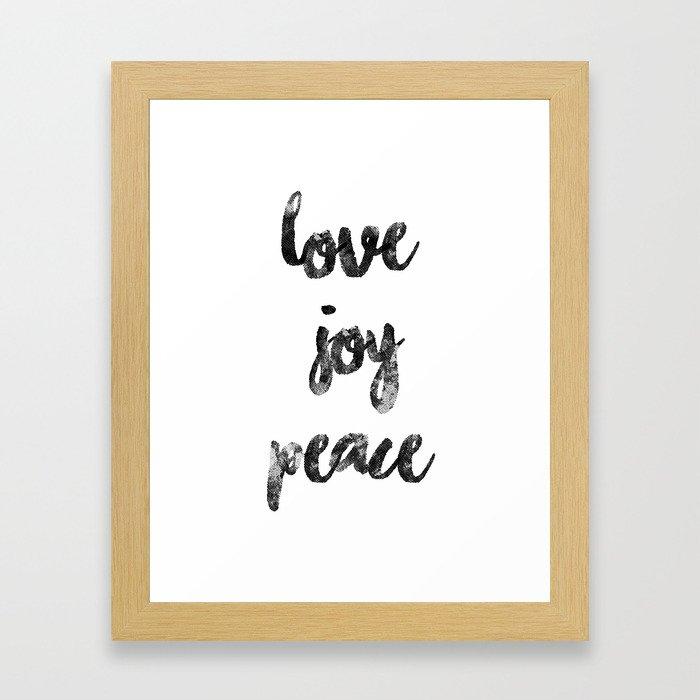 Christmas Quote Love Joy Peace Framed Art Print