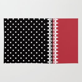 Bright black and red background with a white pattern. Rug