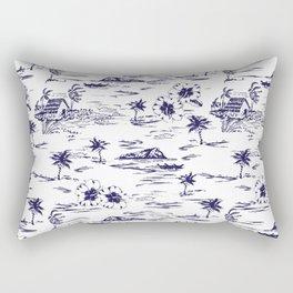 Tropical Island Vintage Hawaii Summer Pattern in Navy Blue Rectangular Pillow