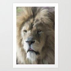 Lion Portrait Watercolour Art Print