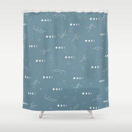 Moon phase boho zodiac sign teal blue night Shower Curtain