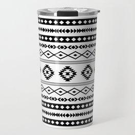 Aztec Black on White Mixed Motifs Pattern Travel Mug