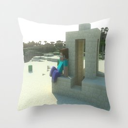 M I N E C R A F T Steve's desert Throw Pillow
