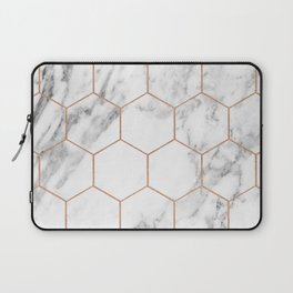 Rose gold marble hexagons honeycomb pattern Laptop Sleeve
