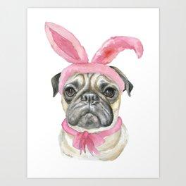Pug with Bunny Ears Art Print