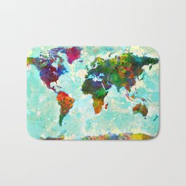 World Map - 1 Bath Mat