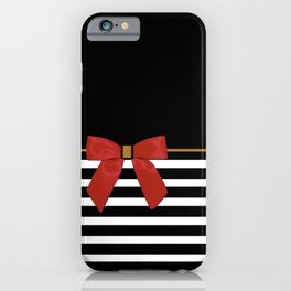 Red Bow + Black And White Stripes II iPhone Case