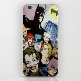 Bat man, Superhero , retro, Joker, painting, comic,  iPhone Skin