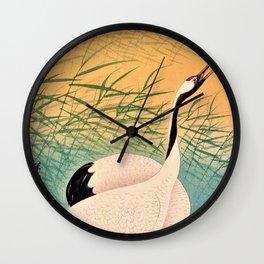 Ohara Koson - Top Quality Art - Two Japanese Crane Wall Clock