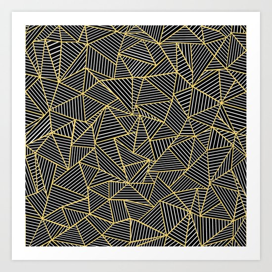 Ab Out Double Repeat Black Art Print