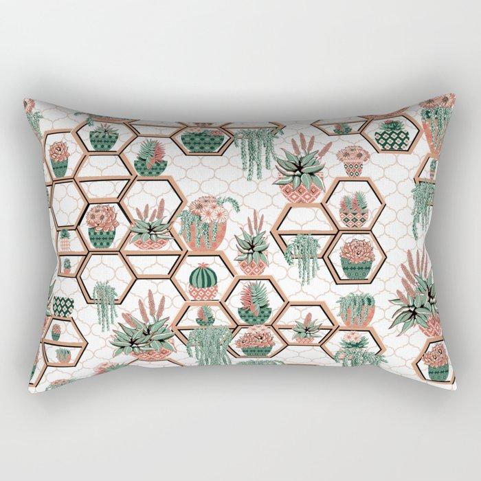 Christmas Succulent Garden. Echeveria, Cacti, plants, aloe vera, pachyveria, haworthia, holiday gift Rectangular Pillow