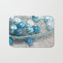 Blue  turquoise christmas baubles and bowl Bath Mat