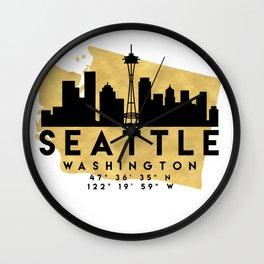 SEATTLE WASHINGTON SILHOUETTE SKYLINE MAP ART Wall Clock