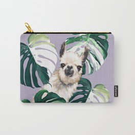 Llama with Variegated Monstera albo #1 Carry-All Pouch