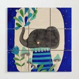 elephant with raindrops in blue watercolor illustration Wood Wall Art