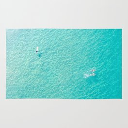 Swimming And Surfing In Manhattan Beach Rug