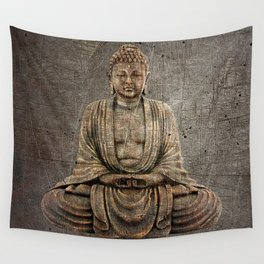 Sitting Buddha On Distressed Metal Background Wall Tapestry