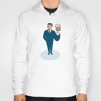 wallet Hoodies featuring businessman secret agent showing id card badge wallet by retrovectors